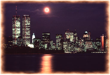 This was shot from the New Jersey side of the Hudson River.  It was the night before Thanksgiving, 1985.  It was cold and dark and the end of a long day - we had gone there to photograph the moon rising between the Twin Towers