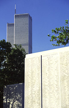 The Towers rise above the Memorial in Battery Park honoring our fallen WW II Naval brethren
