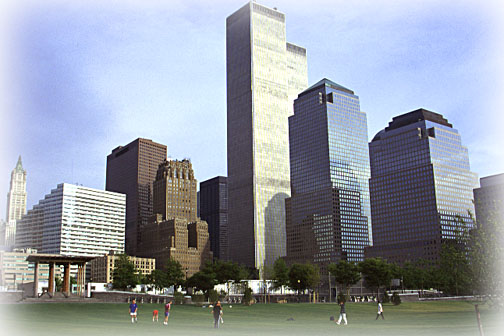 "As a native New Yorker, I remember when the old ""Radio"" District was torn down to make way for these Twin Towers.  This was shot from the edge of the Hudson River looking southeast"